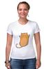 """Футболка Стрэйч (Женская) """"Рыжий кот"""" - кот, cat, рыжий кот, смешной кот"""