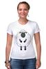 """Футболка Стрэйч (Женская) """"Овечка Символ Нового 2015 года"""" - новый год, серый, белый, символ года, new year, мимими, sheep, 2015, овечка, няшмяш"""