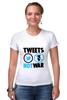 """Футболка Стрэйч (Женская) """"Tweets Not War"""" - fun, social"""