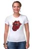 """Футболка Стрэйч (Женская) """"Rolling Stones' 50th Anniversary """" - любовь, rock, логотип, язык, рок-н-ролл, rolling stones, юбилей"""