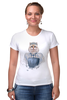 """Футболка Стрэйч (Женская) """"Queen cat"""" - кошка, арт, queen, queen cat, королева кошка"""