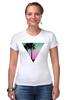 """Футболка Стрэйч (Женская) """"Miami Triangle"""" - пальмы, miami, майами"""