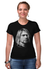 "Футболка Стрэйч (Женская) ""Kurt Cobain"" - nirvana, рок, kurt cobain, курт кобейн, нирвана"