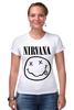 """Футболка Стрэйч (Женская) """"Nirvana (Нирвана)"""" - nirvana, нирвана"""