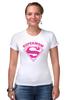 """Футболка Стрэйч (Женская) """"Супермама (Supermom)"""" - супер, super, мама, mom, supermom"""