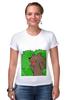 """Футболка Стрэйч (Женская) """"Медведь из кустов"""" - медведь, распутница, медведь из кустов, блудница"""