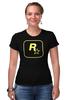 "Футболка Стрэйч (Женская) ""Rockstar Staff T-Shirt"" - rockstar, rockstar games"