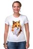 """Футболка Стрэйч (Женская) """"Poly Fox"""" - fox, лиса, полигоны"""
