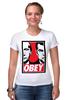 """Футболка Стрэйч """"OBEY"""" - путин, медведев, obey, putin, medvedev"""