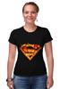 """Футболка Стрэйч (Женская) """"Супермен"""" - comics, комикс, superman, супергерой, dc, superhero"""
