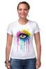 """Футболка Стрэйч (Женская) """"Глаз Алмаз"""" - splash, арт, авторские майки, color, eye"""