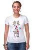 """Футболка Стрэйч """"Новогодняя фуфайка"""" - красивая, new year, white and snow-white, сказочная, christmas, reindeer"""