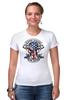 """Футболка Стрэйч (Женская) """"Skull Art"""" - череп, free, американский флаг, american flag, череп и кости"""