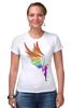 """Футболка Стрэйч (Женская) """"Mozart L`opera Rock """" - арт, авторские майки, wings, рисунок, color"""