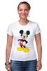 "Футболка Стрэйч (Женская) ""Микки Маус"" - арт, ретро, дисней, mickey mouse"