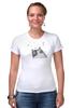 "Футболка Стрэйч ""Music Cat"" - музыка, кот, ноты, добро, кошаса"