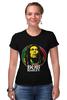 """Футболка Стрэйч (Женская) """"Bob Marley"""" - регги, боб марли, bob marley, reggae, ска"""