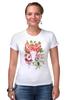 """Футболка Стрэйч (Женская) """"Flower skull"""" - skull, череп, цветы, листья"""