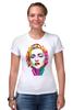 """Футболка Стрэйч (Женская) """"Мадонна (Madonna)"""" - madonna, мадонна, полигоны, polygons"""