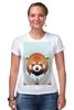 """Футболка Стрэйч (Женская) """"Деловая панда"""" - стиль, панда, red panda, деловая, выдра"""