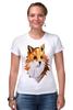 """Футболка Стрэйч (Женская) """"Poly Fox"""" - fox, лиса, лисица, полигоны"""