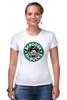 "Футболка Стрэйч (Женская) ""Scrooge McBucks (Starbucks)"" - пародия, coffee, старбакс, макдак, скрудж"