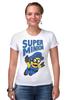 "Футболка Стрэйч (Женская) ""Super Minion"" - миньон, minion"