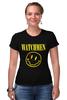 """Футболка Стрэйч (Женская) """"Watchmen x Nirvana"""" - смайл, nirvana, smile, хранители, watchmen"""