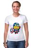 "Футболка Стрэйч (Женская) ""Captain America Minions "" - кэп, мстители, миньоны, капитан америка, captain america"