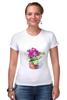 """Футболка Стрэйч (Женская) """"цветы """" - арт, цветы, акварель, герань"""