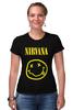 "Футболка Стрэйч (Женская) ""Nirvana "" - nirvana, рок, kurt cobain, курт кобейн, нирвана"