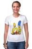 """Футболка Стрэйч (Женская) """"Симпсоны"""" - симпсоны, the simpsons"""
