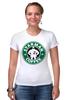 "Футболка Стрэйч (Женская) ""Starman Coffee "" - пародия, кофе, starbucks, старбакс, starman"
