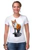 """Футболка Стрэйч (Женская) """"Лисица"""" - животные, red, рисунок, fox, лиса, рыжая"""