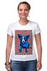 """Футболка Стрэйч (Женская) """"Синий Пес"""" - сердце, dog, пес, собака, blue dog"""