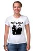 "Футболка Стрэйч (Женская) ""nirvana"" - grunge, гранж, nirvana, kurt cobain, курт кобейн, нирвана, альтернативный рок"