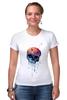"Футболка Стрэйч (Женская) ""Bleeding skull"" - skull, череп, apple"