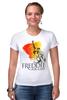"Футболка Стрэйч (Женская) ""Freddie Mercury - Queen"" - queen, фредди меркьюри, freddie mercury, куин, rock music"