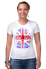 "Футболка Стрэйч (Женская) ""Skull Art"" - skull, череп, uk, british flag, британский флаг"