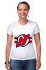 """Футболка Стрэйч (Женская) """"Нью-Джерси Девилс"""" - хоккей, nhl, нхл, нью-джерси девилс, new jersey devils"""