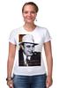 """Футболка Стрэйч (Женская) """"Аль Капоне"""" - череп, пистолет, авторские майки, ny, кости, шляпа, пуля, chicago, нью йорк, гангстер"""