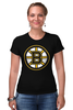 "Футболка Стрэйч (Женская) ""Boston Bruins"" - медведь, хоккей, nhl, бостон, boston bruins"