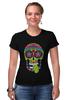 """Футболка Стрэйч (Женская) """"Череп """"Рок-н-Ролл"""""""" - skull, череп, mexican skull"""