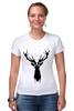 """Футболка Стрэйч (Женская) """"Олень"""" - арт, краски, природа, олень, deer"""