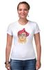 """Футболка Стрэйч (Женская) """"Стильная кошка"""" - кошка, модно, стильная, котик, casual"""