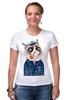 "Футболка Стрэйч (Женская) ""kitty"" - cat, котэ, трубка, hipster, sailor, моряк"