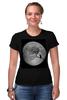 """Футболка Стрэйч (Женская) """"Лунная ночь"""" - кот, cat, moon, лунная ночь, полнолуние"""