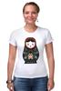 """Футболка Стрэйч """"Матрешка"""" - матрешка, россия, russia, символика, патриотические футболки, matryoshka"""