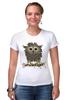 """Футболка Стрэйч (Женская) """"Сычик"""" - цветы, хищник, глаза, дикий, птица, дети, птицы, природа, сова, животное"""