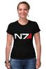 "Футболка Стрэйч (Женская) ""N7 (Mass Effect)"" - mass effect, n7, масс эффект"
